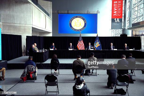 Governor Andrew Cuomo Speaks at a press conference in New York, United States, on March 30, 2020. US Army Corps of Engineers completes a temporary...