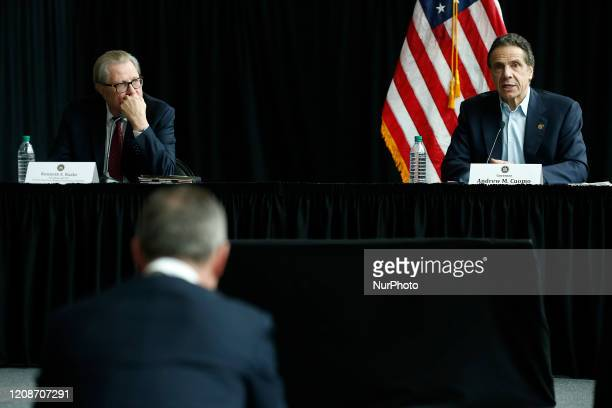 Governor Andrew Cuomo Speaks at a press conference in New York United States on March 30 2020 US Army Corps of Engineers completes a temporary field...