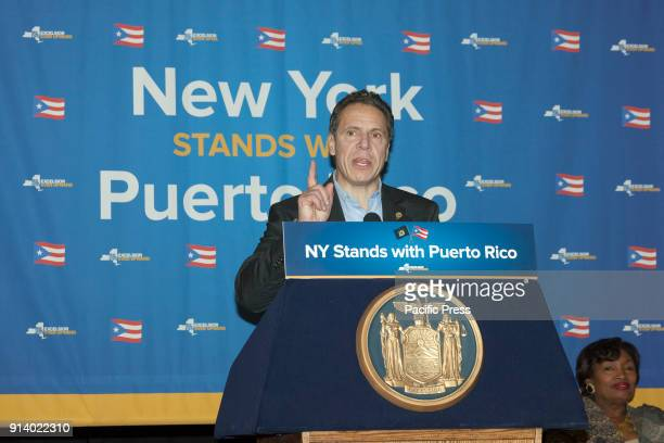 Governor Andrew Cuomo speaks at New York stands with Puerto Rico rally at Casita Maria Center for Arts and Education in the Bronx