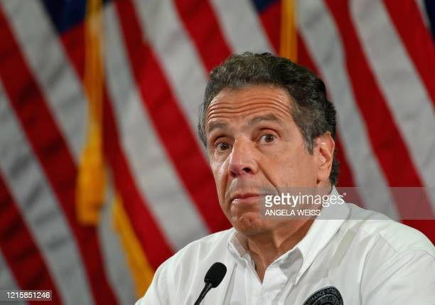 Governor Andrew Cuomo speaks during a press briefing on COVID-19 at Madison Boys and Girls Club in the Brooklyn borough of New York City on May 28,...