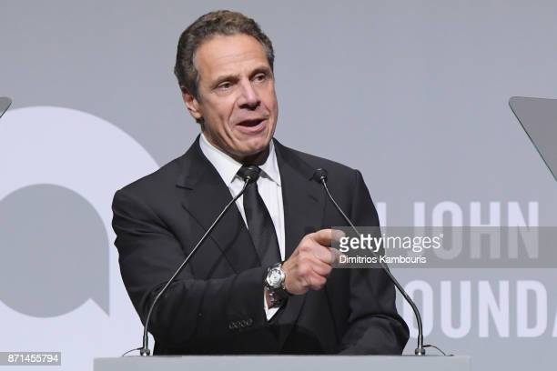 Governor Andrew Cuomo speaks onstage at the Elton John AIDS Foundation Commemorates Its 25th Year And Honors Founder Sir Elton John During New York...