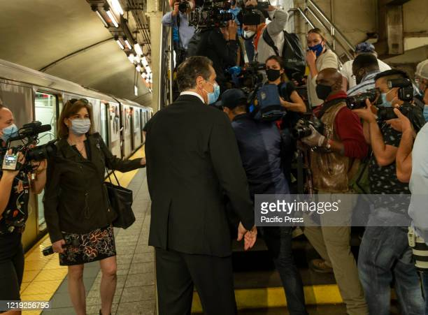 Governor Andrew Cuomo walks after riding the New York City subway 7 train into the city Grand Central Station. On June 8, 2020 New York City enters...