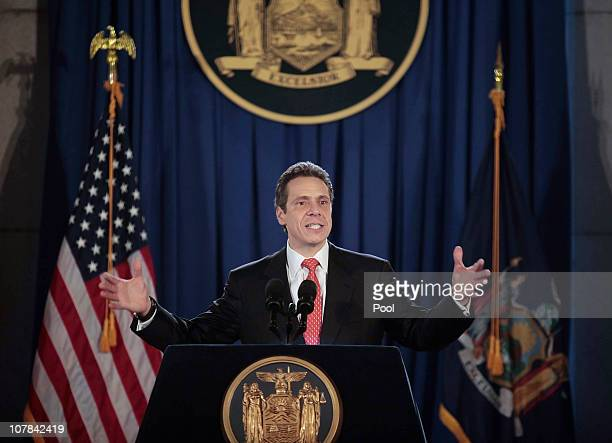 Governor Andrew M. Cuomo speaks at his inauguration in the War Room at the state Capitol on January 1, 2011 in Albany, New York. In attendance were...