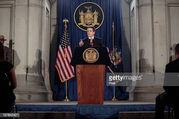 Governor Andrew M Cuomo speaks at his inauguration in the War Room at the state Capitol on January 1 2011 in Albany New York In attendance were...
