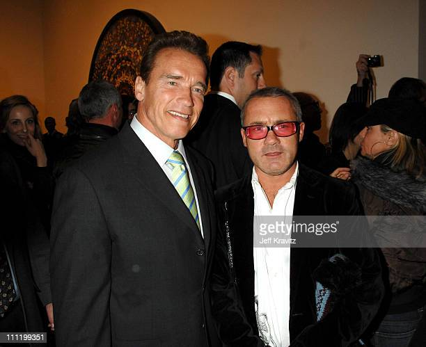 Governor Arnold Schwarzenegger and Damien Hirst during Damien Hirst 'Superstition' Opening Reception February 22 2007 at Gagosian Gallery in Beverly...