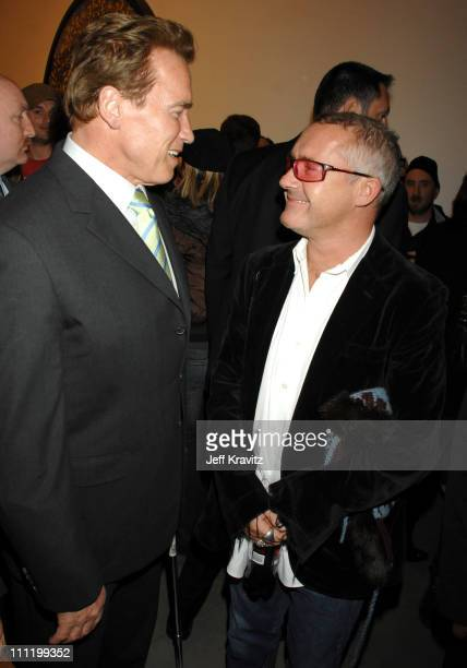 Governor Arnold Schwarzenegger and Damien Hirst during Damien Hirst Superstition Opening Reception February 22 2007 at Gagosian Gallery in Beverly...