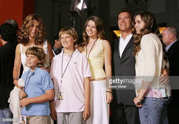 Governor Arnold Schwarzenegger and his wife Maria Shriver pose with their children Chris, Patrick, Christina and Katherine at the premiere of...