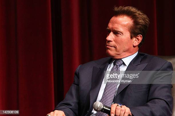 Governor Arnold Schwarzenegger at USC School Of Cinematic Arts Honors Late Film Industry Icon Dino De Laurentiis at USC on April 1 2012 in Los...