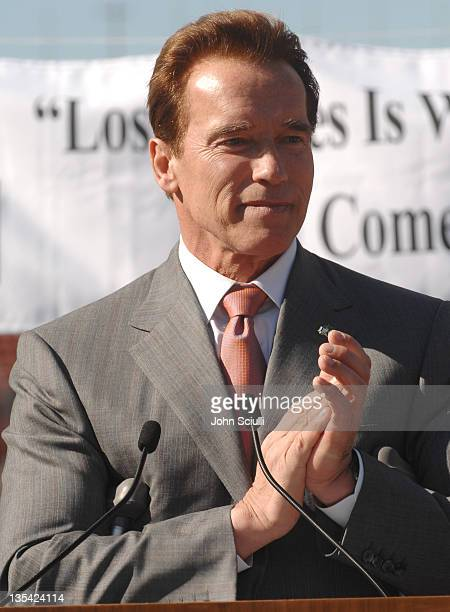 Governor Arnold Schwarzenegger during Gov Schwarzenegger and Mayor Villaraigosa add California's Voice To Chrous Of ASupport For LA's 2016 Olympic...
