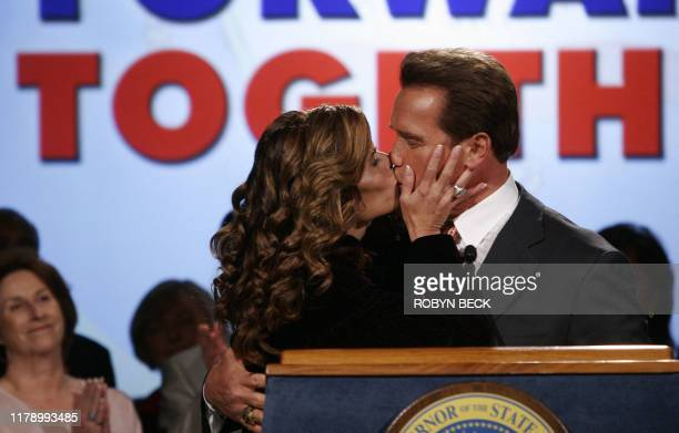 Governor Arnold Schwarzenegger kisses his wife Maria Shriver after he thanked her for her support during his election night party in Beverly Hills,...