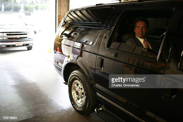 Governor Arnold Schwarzenegger leaves the capital for the day to return to his home in Los Angeles March 29 2007 in Sacramento California