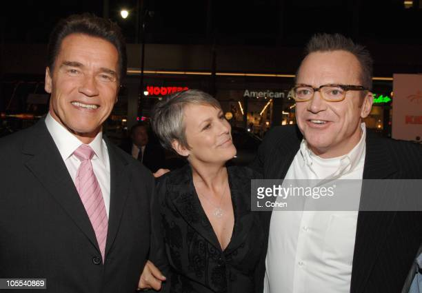 Governor Arnold Schwarzenegger of California Jamie Lee Curtis and Tom Arnold