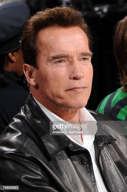 Governor Arnold Schwarzenegger of California looks on during NBA AllStar Saturday Night part of 2008 NBA AllStar Weekend at the New Orleans Arena on...