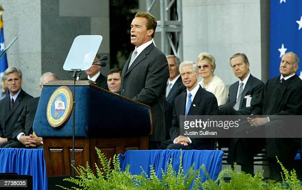 Governor Arnold Schwarzenegger speaks during a swearingin ceremony November 17 2003 in Sacramento California Schwarzenegger became the 38th governor...