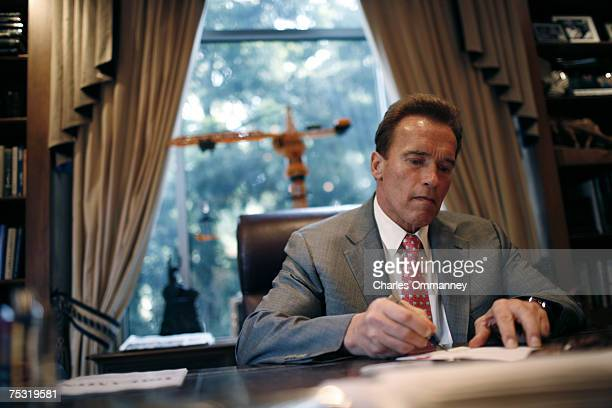 Governor Arnold Schwarzenegger working at his offices in the Capital March 29 2007 in Sacramento California