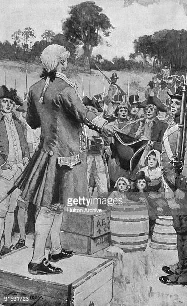 Governor Arthur Phillip addresses the first Australian settlers upon landing at Sydney Cove in Port Jackson later part of Sydney Australia January...