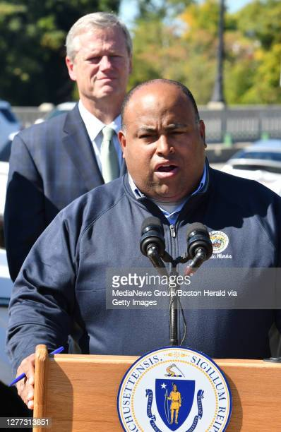 Governor Baker listens to Mayor Daniel Rivera during a press conference September 27 2019 in LAWRENCE Massachusetts