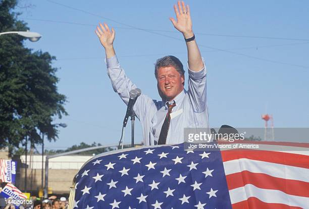 Governor Bill Clinton and right hand man Senator Al Gore wave to supporters at the County Court House during the Clinton/Gore 1992 Buscapade campaign...