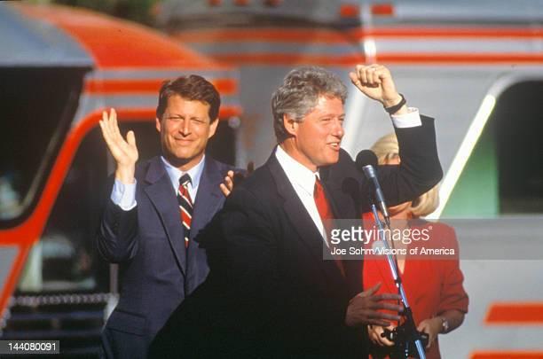 Governor Bill Clinton and Senator Al Gore on the 1992 Buscapade campaign kick off tour in Cleveland Ohio