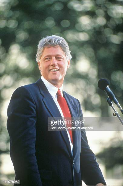 Governor Bill Clinton speaks in Ohio during the Clinton/Gore 1992 Buscapade campaign tour in Cleveland, Ohio