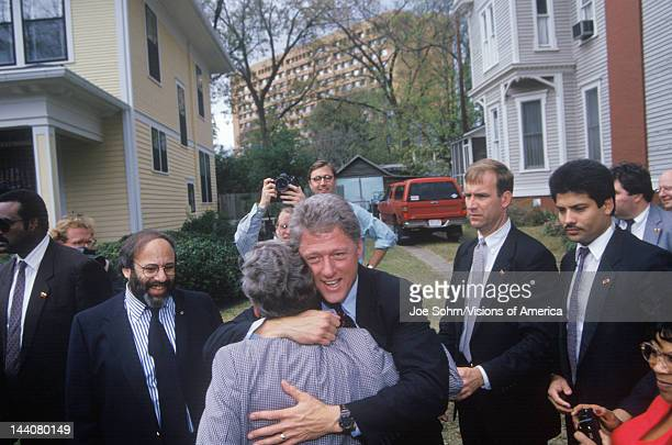 Governor Bill Clinton stops for a show of support on way to Governors Mansion on Election Day Nov 3 of 1992 in Little Rock Arkansas