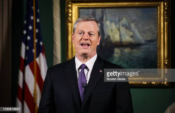 Governor Charlie Baker delivers his televised State of The Commonwealth Address from his ceremonial State House office in Boston on Jan. 26, 2021.
