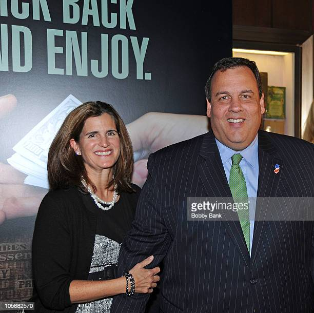 Governor Chris Christie and his wife Mary Pat Christie attend the premiere of The Soprano State at Ziegfeld Theatre on October 18 2010 in New York...