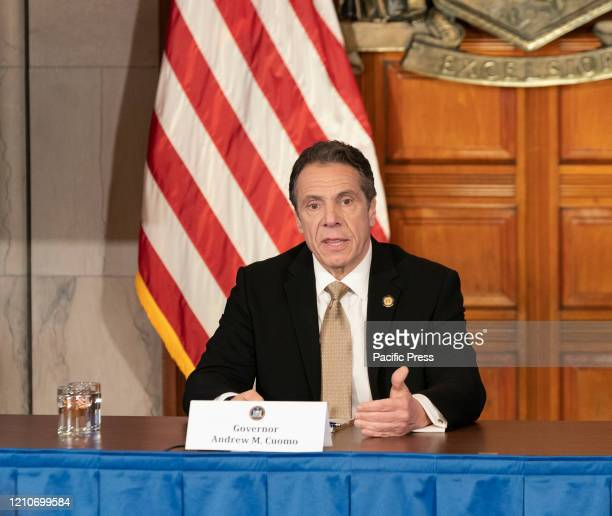 Governor Cuomo holds briefing on COVID19 response at Red Room at New York State Capitol Building