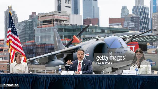 Governor Cuomo Makes an Announcement and Holds Briefing on COVID19 Response on Intrepid Sea Air and Space Museum on Memorial Day He appeared...