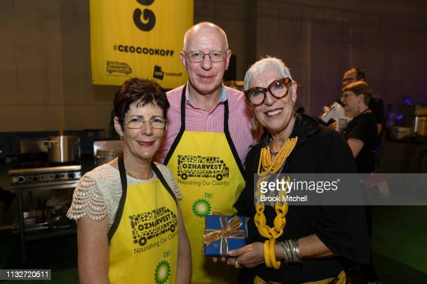 Governor David Hurley and wife Linda pose for a picture with OzHarvest CEO Ronni Kahn at the OzHarvest CEO Cookoff on March 25 2019 in Sydney...
