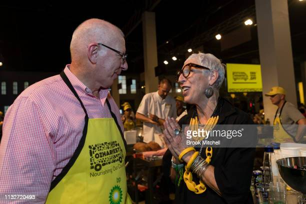 Governor David Hurley speaks to OzHarvest CEO Ronni Kahn at the OzHarvest CEO Cookoff on March 25 2019 in Sydney Australia