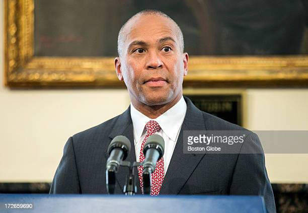 Governor Deval Patrick speaks to the media after signing a casino compact with the Mashpee Wampanoag tribe at the State House in Boston