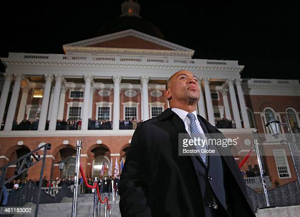 """Governor Deval Patrick's """"Lone Walk"""" marking the end of his administration. The event started with his exchanging symbolic gifts in the governor's..."""