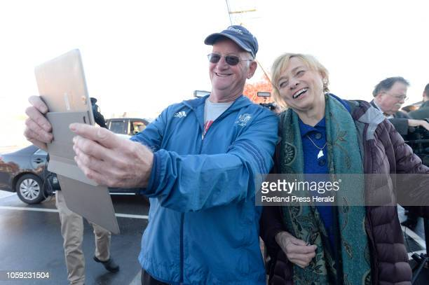 Governor Elect Janet Mills poses for a selfie with Allyn Genest of Sanford on her way into Becky's Diner in Portland the morning after her historic...