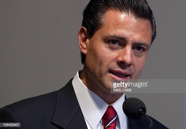Governor Enrique Pena Nieto of Mexico speaks about Mexico's role in the global world at the Woodrow Wilson Center in Washington, DC, August 11, 2010....