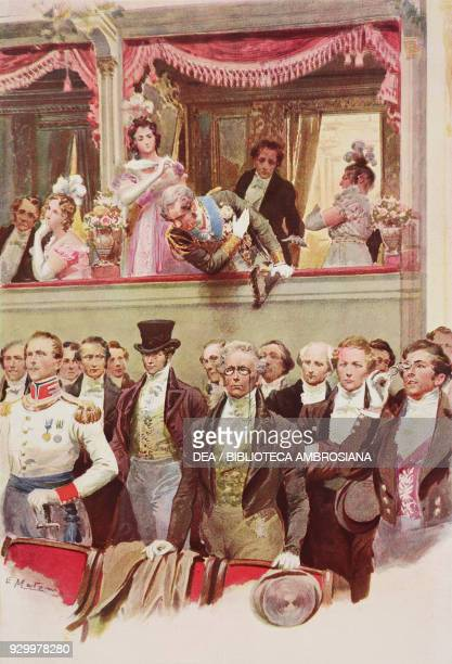 Governor Franz Josef Saurau hitting a disrespectful man's hat which was not removed before the Emperor at the La Scala theatre in Milan Italy drawing...