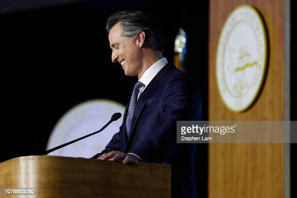 Governor Gavin Newsom delivers his inaugural address after being sworn in as the 40th governor of California on January 7 2019 in Sacramento...