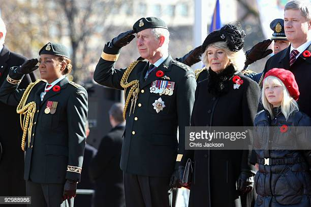 Governor General Michaëlle Jean Prince Charles Prince of Wales Camilla Duchess of Cornwall and Prime Minister Stephen Harper look on as they attend a...