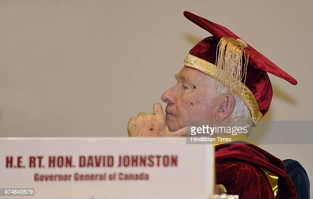 Governor General of Canada David Johnston after being conferred LL.D at the Special Convocation of National Law University at Vigyan Bhawan on...