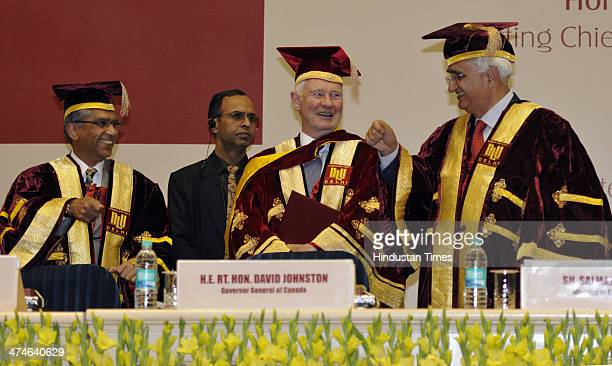 Governor General of Canada David Johnston being confered LL.D by Justice Badar Durrez Ahmed, Acting Chief Justice, Delhi High Court & Chancellor, NLU...