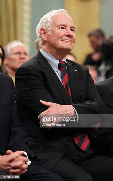 Governor General of Canada David Johnston looks on during the 2012 NHL All-Star Game - H.E.R.O.S. Community Program Launch at Rideau Hall on January...