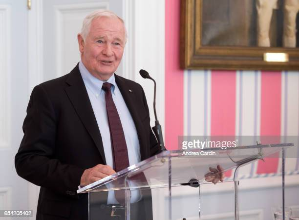 Governor General of Canada David Johnston speaks during the Stanley Cup Homecoming as part of the Stanley Cups 125th anniversary celebrations on...