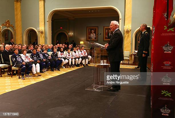 Governor General of Canada David Johnston speaks from the podium during the 2012 NHL All-Star Game - H.E.R.O.S. Community Program Launch at Rideau...