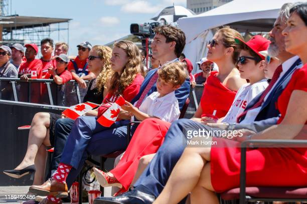 Governor General of Canada Julie Payette and Prime Minister of Canada Justin Trudeau and family observe the Canada Day ceremonies at Parliament Hill...
