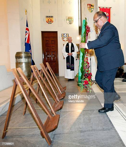 Governor General of New Zealand Anand Satyanand places a wreath during a commemorative service to mark the 90th anniversary of the Battle of...