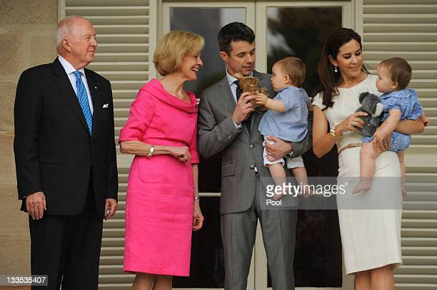 Governor General Quentin Bryce and her husband Michael welcome Prince Frederik of Denmark and Princess Mary of Denmark with their twins Princess...
