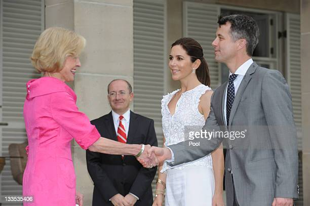 Governor General Quentin Bryce welcomes Prince Frederik of Denmark and Princess Mary to Admiralty House on November 20 2011 in Sydney Australia...