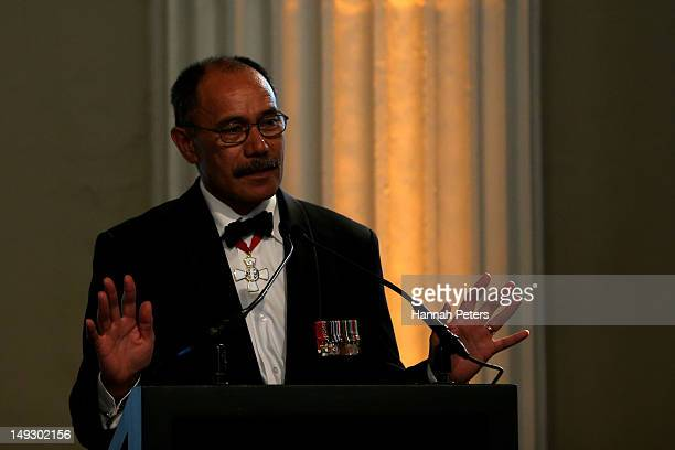 Governor General Sir Jerry Mateparae speaks during the NZOC Governor General's Gala Dinner ahead of the London 2012 Olympic Games at Banqueting House...
