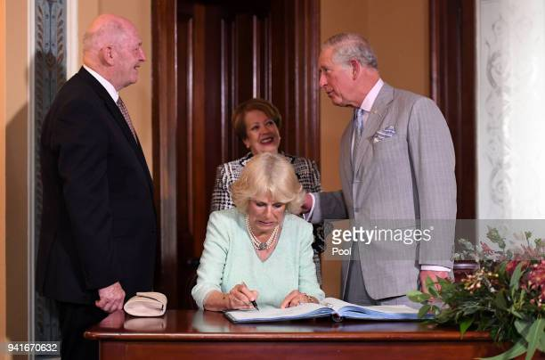 Governor General Sir Peter Cosgrove and his wife Lynne Cosgrove welcome Camilla Duchess of Cornwall and Prince Charles Prince of Wales to the Old...