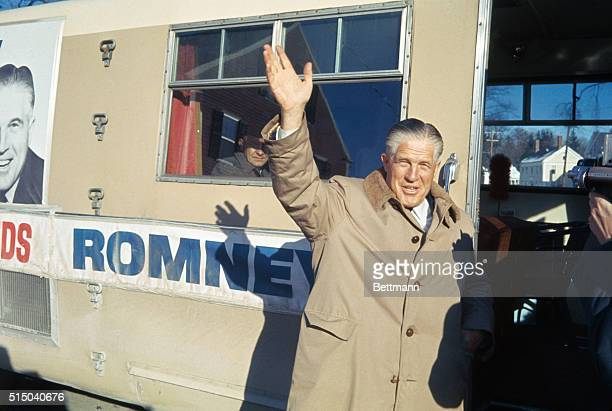 Governor George Romney of Michigan waves from outside his campaign trailer January 17th